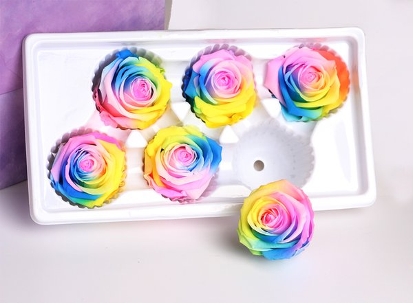 1 Box High Quality Colorful Immortal Preserved Roses Flower Diameter 5-6CM Rose Eternelle Boite Dried Flowers Material Gift Box
