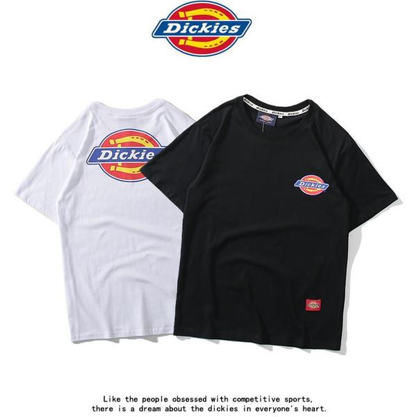2019 yeni Dickies kısa kollu baskılı T-shirt pamuk yuvarlak boyun Kene erkekler ve kadınlar rahat çift gömlek gelgit marka vahşi