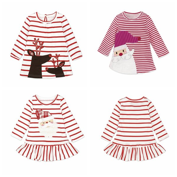 Newborn Baby Girl Dress Autumn Long Sleeve Striped Dress Party deer Santa Claus Kids Clothes For Christmas Toddler Infant Clothes