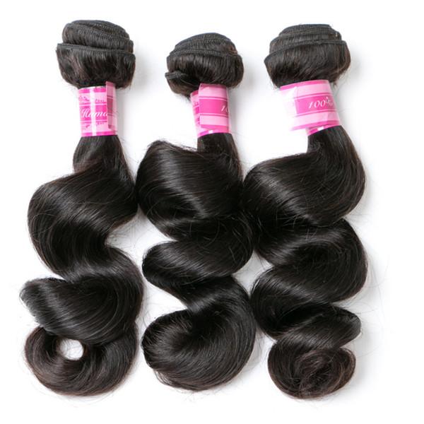 8-28 Pouces Meilleure Vente Doux Naturel Haute Qualité Longue Vague Lente Noire Vierge Vierge Cheveux Humains Extension de Cheveux Trames De Cheveux