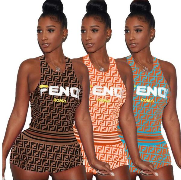 2019 yeni moda 2 Parça Set seksi bayan kolsuz yelek şort set Popüler mektuplar baskı Eşofman rahat tarzı Koşu takım elbise 3 renkler set