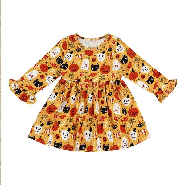 INS Yeni 2019 Cadılar Bayramı bebek kız elbise kabak uzun kollu kız elbise çocuklar giysi tasarımcısı kızlar prenses elbiseler kız elbise A7634