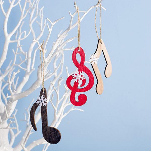 Nouvel An décorations de Noël en bois flocon note dessin colorié pendentifs Noël créatif bricolage ornements d'arbre de Noël
