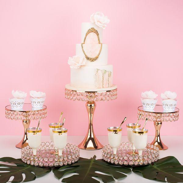 2019 fashion Luxury Cake wedding centerpieces metal stand makeup decorating rack cake decorating dessert table drinking candy cupcake holder