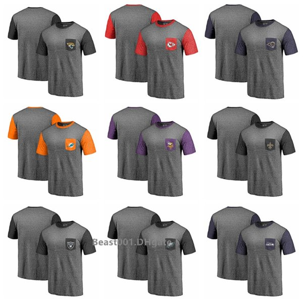 Men Jaguars Chiefs Rams Dolphins Vikings Saints Raiders Eagles Seahawks Pro Line by Heathered Gray Refresh Pocket T-Shirt