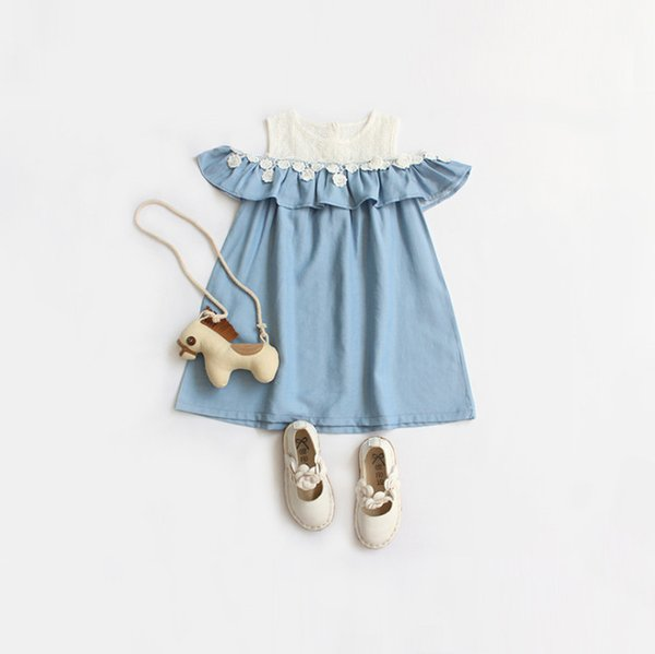 Girls dresses kids lace hollow floral embroidery splicing denim dress children falbala dew shoulder princess dress summer kid clothes F7924
