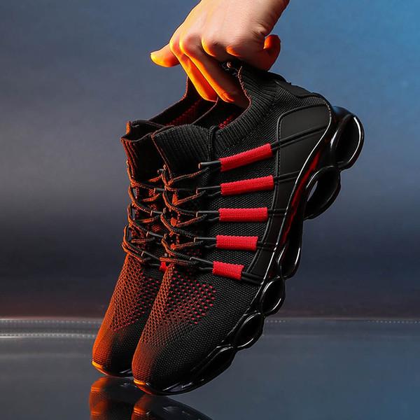 Trend Yeni Blade Ayakkabı Erkek Nefes Sneakers Çorap Adam Fitness erkek Eğitmenler için Ayakkabı Ayakkabı Hollow Taban Çizgili Tenis