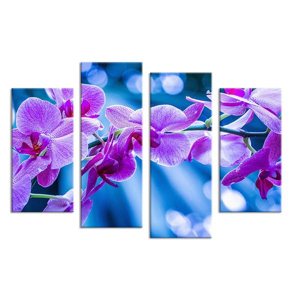 Acheter Fleurs Violettes Salons Ensemble Peinture Murale Imprimer Sur Toile Pour La Décoration Idée Peintures Sur Le Mur Photos Art No Encadré De