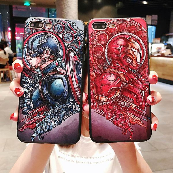 Captain America Iron Man Marvel designer phone case Ultra Thin TPU Phone Case For iPhone XS MAX XR 6 7 8 S PLUS X Comics Protector Cover
