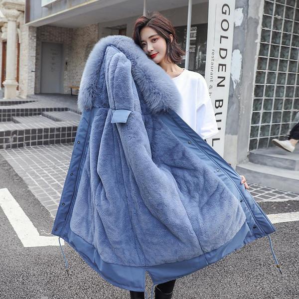 Cotton Liner Warm Coat Waterproof Jacket Women Plus Size Slim Long Coat Female Winter Big Fur Hooded Parka