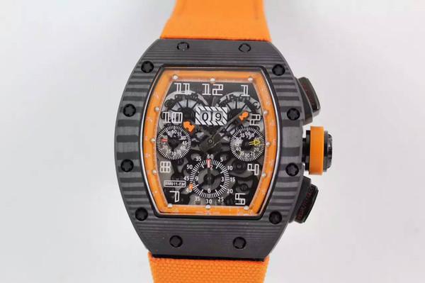 Di lusso Men Watch Best Brand in fibra di carbonio acciaio ETA 7750 movimento automatico Chonograph posteriore trasparente tessuto Mens orologio meccanico