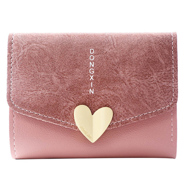 New Designer Heart Cute Pink Small Wallet For Women Lady Mini Clutch Coin Purse Card Holder Pocket Girl Short Zipper Wallets