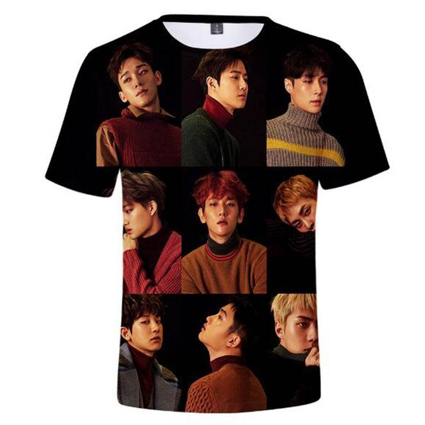 2019 New Hot sale EXO Member Idol 3D Print Fashion Style Short Sleeve T-shirts Women/Men Casual Cute and handsome Hip Hop Top