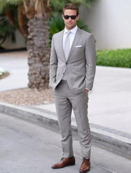 Custom Light Gray Wedding Mens Suits Slim Fit Bridegroom Tuxedos For Men Groom 2Pieces Jacket+Pants Groomsmen Formal Business Suits Best Man