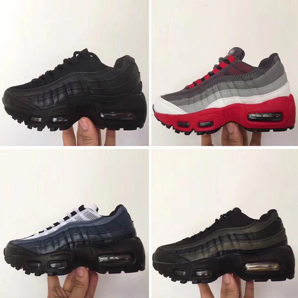 Nike air max 95 2019 Çocuklar Atletik Ayakkabı Çocuk Basketbol Ayakkabı Kurt Gri Yürüyor Spor Sneakers Boy Kız Toddler Chaussures Enfant Dökün