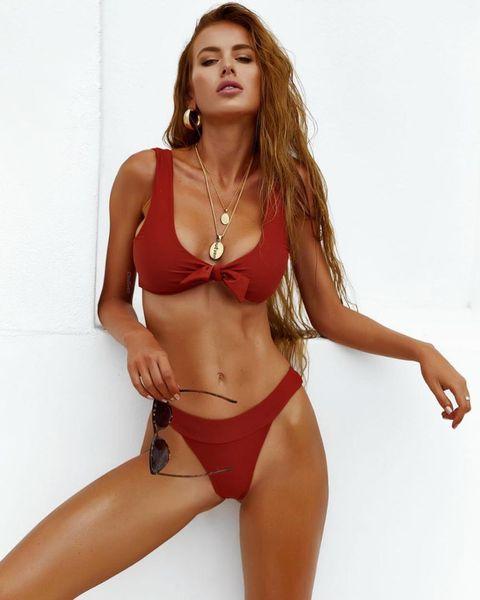 2019 Sexy Solid Swimwear Thong Micro Bikini Women Swimsuit High Quality Brazilian Bow Bikinis Set Bathing Suit Beach Monokini