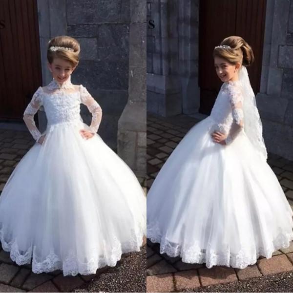 Beyaz Prenses Dantel Balo Çocuk TUTU Çiçek Kız Elbise Uzun Kollu Parti Balo Prenses Gelinlik Düğün Örgün Durum Dres