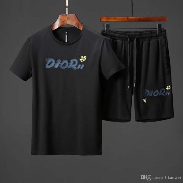 2019 verão dos homens de manga curta Terno Bordado Little abelha carta de algodão de manga Curta T-shirt shorts Two piece set T dos homens de Lazer