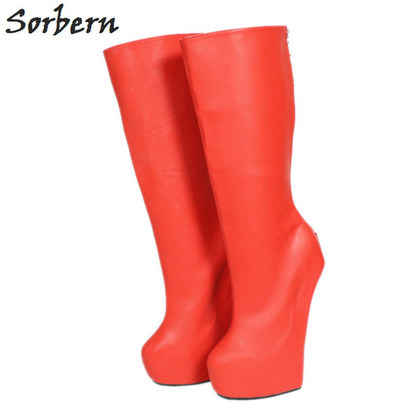 Acheter Sorbern Chaud Rouge Grand Coupe Large Bottes Bottes Femmes Chaussures De Mode Grande Taille 45 Goth Stilettos Travestis Cosplay Bottes À