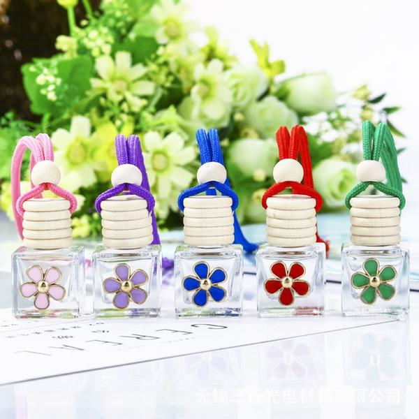 Verre Daisy bouteille de parfum 8ML Car Mini bouteille vide Pendentif parfum voiture Diffuseur 5 Pièces ePacket
