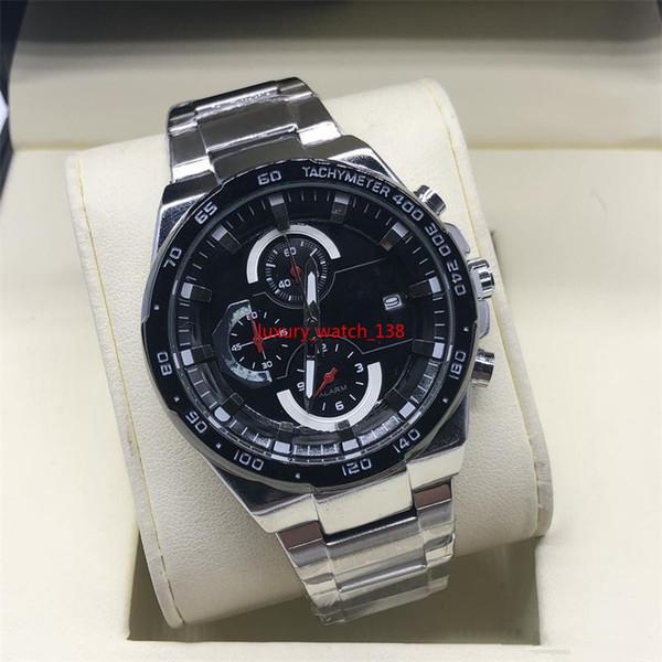 H mais novos homens de negócios de luxo EF assistir todos os ponteiro de trabalho de aço inoxidável cronógrafo relógios de quartzo rei fórmula casual f1 monaco g1100