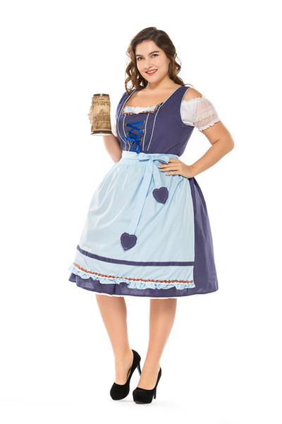 Big Size Bavarian Maid Cosplay Costume Carnival Mardi Gras Waitress Uniform  Plus Size German Oktoberfest Beer Girl Fancy Dress Medieval Costumes ...