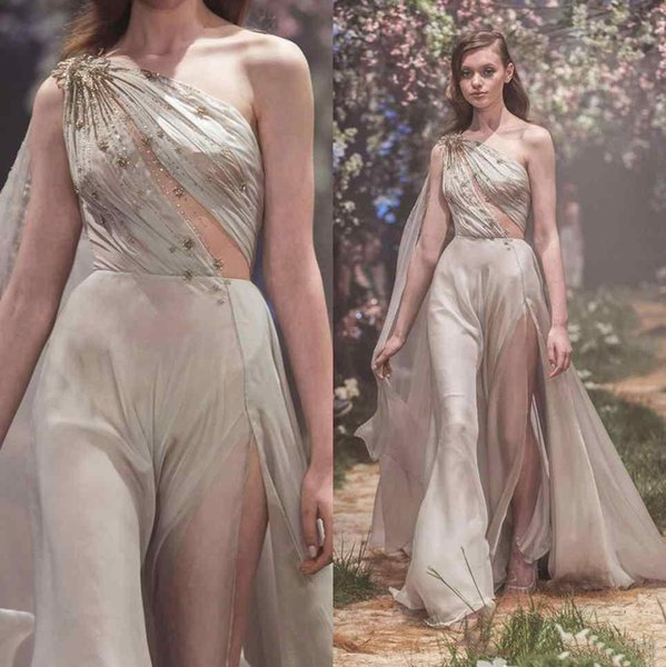 Sexy One Shoulder Prom Dresses Crystal Beaded Paolo Sebastian 2018 High Side Slit Evening Formal Gowns Sweep Train Chiffon Teens Party Dress