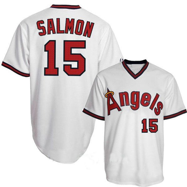 sports shoes baad9 44784 2019 Los Angels 15 Tim Salmon Angels 19 Fred Lynn 22 Bo Jackson 27 Mike  Trout 29 Rod Carew 30 Nolan Ryan 44 Reggie Jackson M&N Baseball Jerseys  From ...