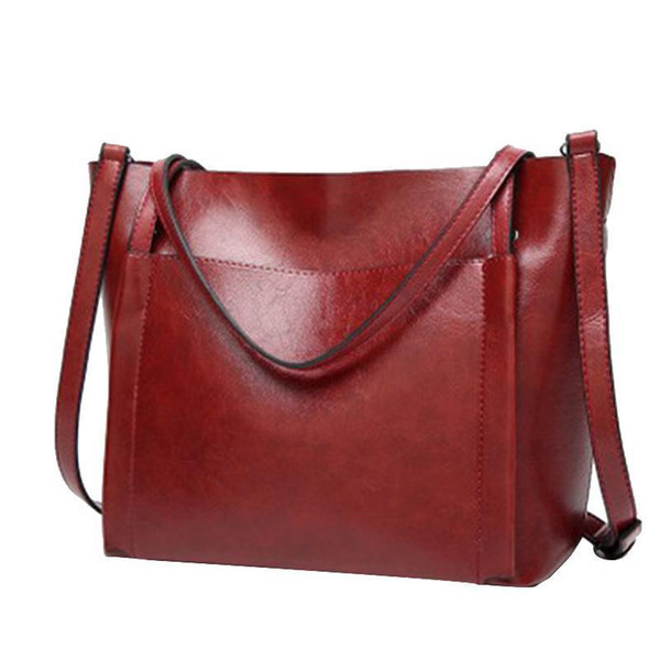 Laamei Women PU Leather Handbags Lady Large Tote Bag Female Pu Shoulder Bags Bolsas Femininas Sac A Main Brown Black Red Green