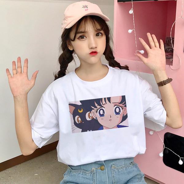 2019 süße Sailor Moon T-shirt Sommer Mode Harajuku Große Größe S-2xl Kurzarm Cartoon Print Letters Tops Tees T-shirt