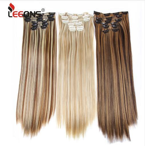 6H/613# Clip In On Hair Extensions 6Pcs/Set 16 Clips Hair Extension Full Head 55Cm Straight Synthetic Fiber Hairpieces
