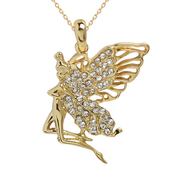 women & girl gilding Fashion big large wing Crystal Angel fairy Pendant Chain Necklace chocker jewelry