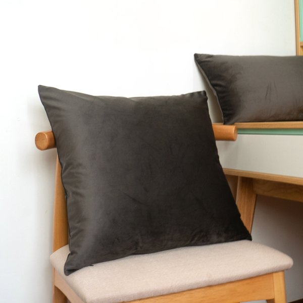 Soft Dark Gary Velvet Cushion Cover Pillow Case Bed Sofa Pillow Cover Throw No Balling-up Without Stuffing