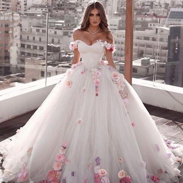 Compre 3d Floral Apliques Vestido De Bola Vestidos De Novia De Encaje De Calidad Superior Con Cuentas Cariño Barrido Tren Vestido De Boda Gótico Civil