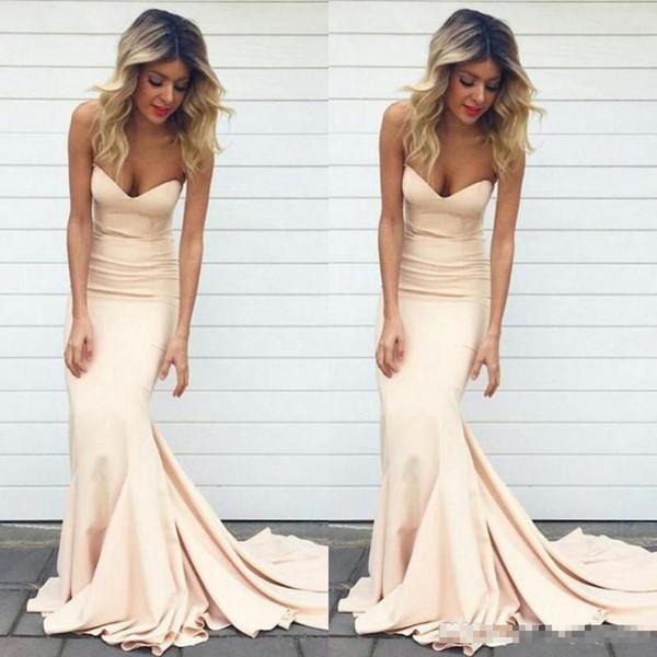 2020 Mermaid Prom Dresses color nudo Sweetheart Neck sweep treno sera convenzionale abiti abiti lunghi delle donne del partito della celebrità