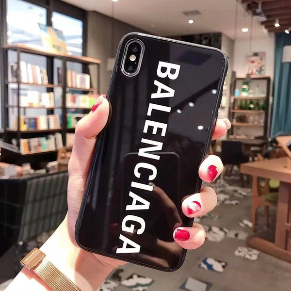 For iphone x max xr 8 6 6 7 plu gla letter de igner ca e luxury 9h hardne tempered gla glo y phone brand back cover a05