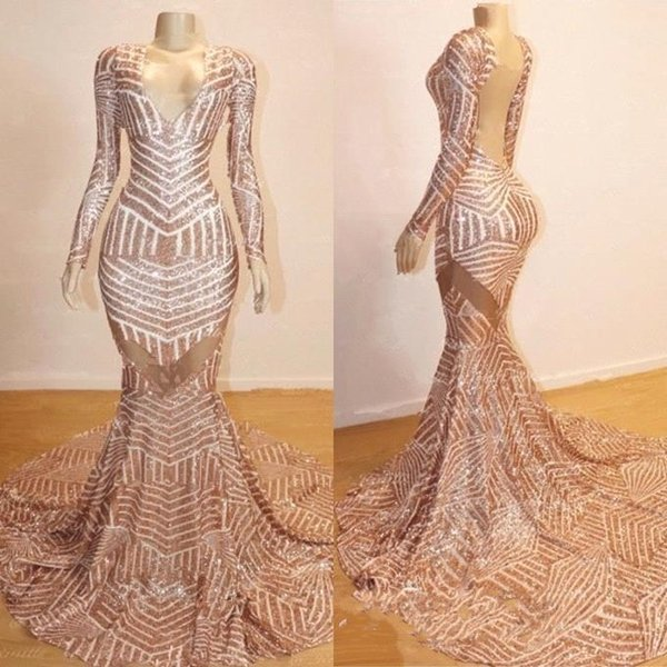 Real Pictures 2019 Rose Gold Mermaid Prom Dresses V Neck Long Sleeves Sequins Evening Dresses Backless Party Gowns BC0841