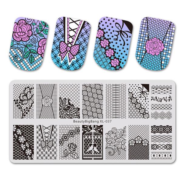 Compre Beautybigbang Rectángulo Estampado De Uñas Placas Para Estampar Encaje Flores Diseño Nail Art Template Para Uñas Bbb Xl 037 A 343 Del