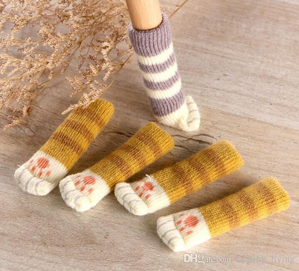 4Pcs /Set Cute Cat Paw Table Chair Foot Leg Knit Cover Protector Socks Sleeve Protector Good Scalability Non-Slip Wear DHL Free
