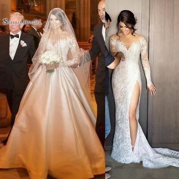 top popular 2020 Long Sleeves Lace Mermaid Bride Dress Bridal Ball Gown Saudi Arabia Wedding Plus Size robes de mariée 2020