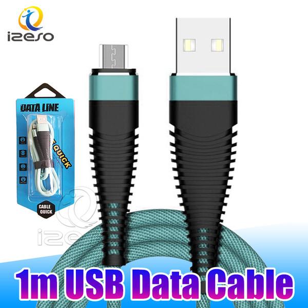Longueur standard 1m 3ft câble 2A Tressé USB Type C Câble Cordon rapide Chargeur pour Huawei Maté 30 PRO avec izeso d'emballage au détail