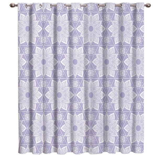 Lilac Mandala Pattern Window Treatments Curtains Valance Room Curtains Large Window Blinds Blackout Bathroom Bedroom