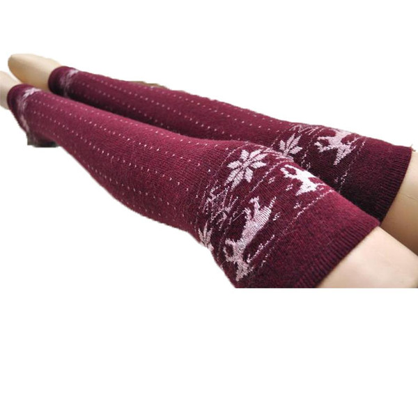 Women Warm Leg Protector Deer Dot Pattern Woolen Knitted Over-knee Long Tube Socks Fall and Winter Casual Thick Causal