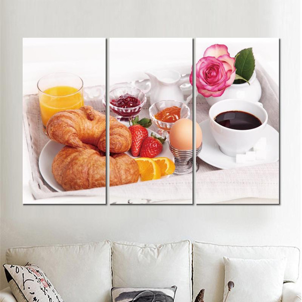 3 sets breakfast coffee eggs croissants canvas print arts pictures for dining room decor