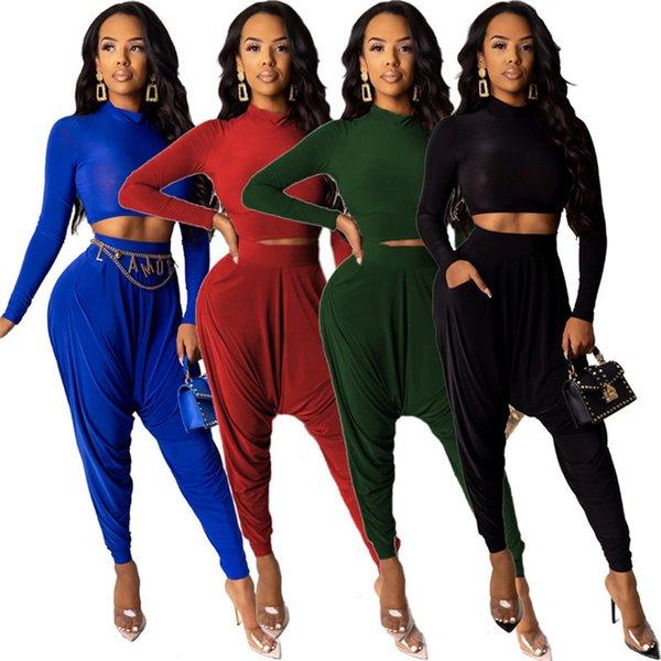 Kadınlar 2 Adet Set Tops + Harem Crop Top Yüksek Boyun takım Uzun Kollu Gömlek Pantolon Moda Seksi Katı Renk Elbise 1809 Kış Giyim Sonbahar