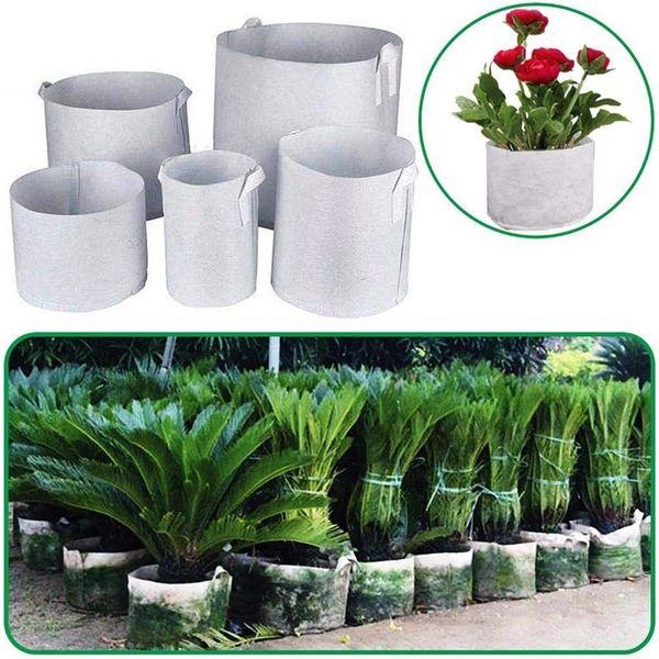 7 Size Plant Grow Bag Biologisch abbaubare Non-Woven Nursery Bags Belüftungsgewebe-Töpfe mit Griffen für Hausgarten-Kartoffel-Tomaten-Gemüse-Anlage