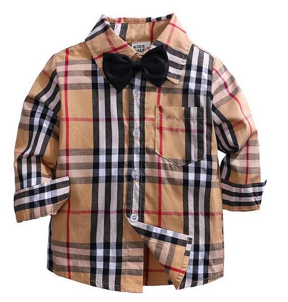 Yeni Stil Ekose Gömlek Çocuk Çocuk Boys Kız Giyim Uzun Kollu Düğmeler Cep Gömlek Aşağı Yaka Bluz çevirin Tops
