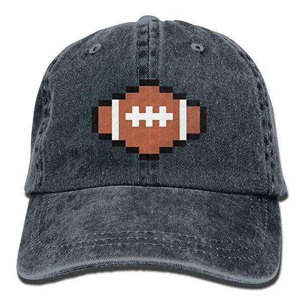 Acheter 2019 Nouveaux Casquettes De Baseball En Gros Ballon De Rugby Pixel Art Art Coton Ajustable Lavé Casquette De Baseball En Sergé Chapeau De