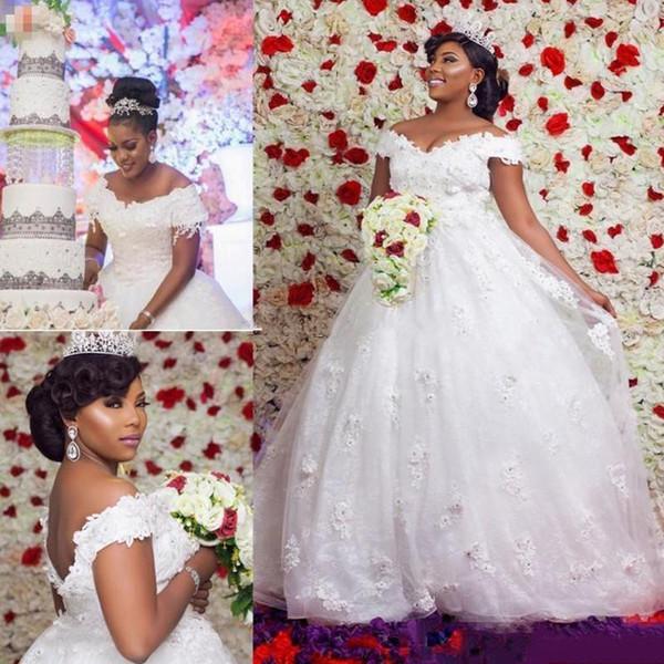 African Ball Gown Wedding Dresses 2019 3D Appliques Beaded Off Shoulder Sweep Train Open Back Country Garden Robe De Mariee
