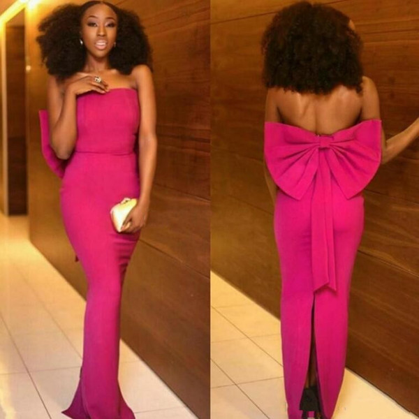 Nigerian African Fuchsia Evening Dresses Strapless Floor Length Black Girls Special Occasion Dresses With Back Slit Big Bow Prom Dress